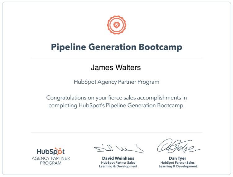 Pipeline generation bootcamp certificate - James Walters