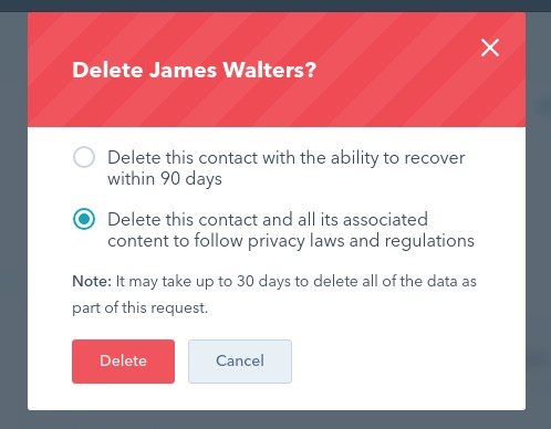GDPR soft and hard delete options in HubSpot